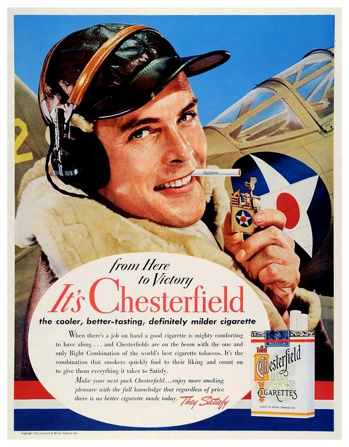 260d1cee 1942 - Chesterfield Cigarette Advertisement - World War II - Army Air Corps  - Color