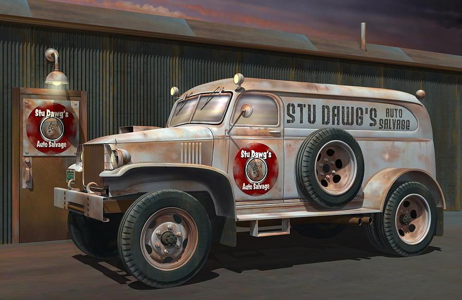 1942 Chevy Panel Truck Digital Art By Stuart Swartz