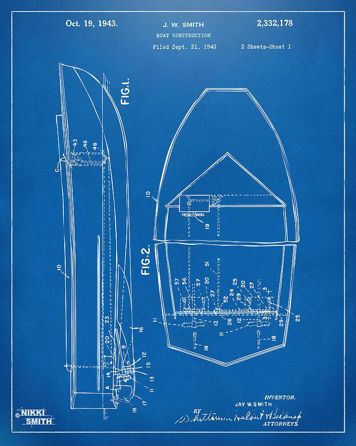 1943 chris craft boat patent blueprint digital art by nikki marie smith chris craft digital art 1943 chris craft boat patent blueprint by nikki marie smith malvernweather Gallery