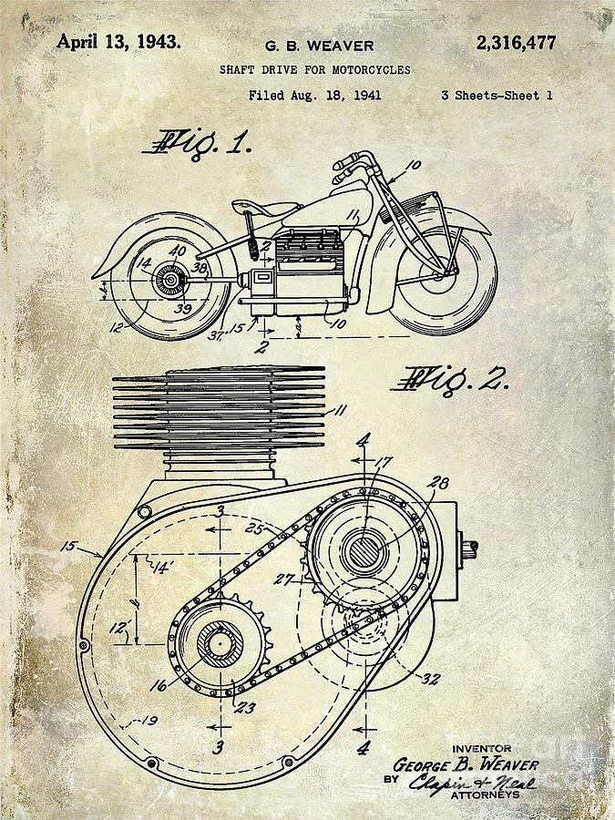 Harley Davidson Photograph - 1943 Indian Motorcycle Patent Drawing by Jon Neidert