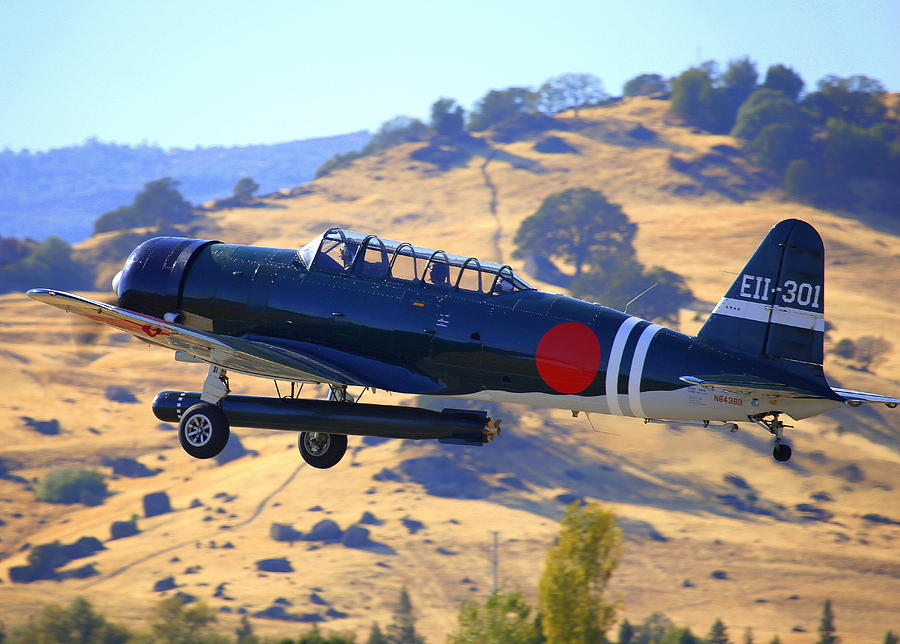1944 Snj-5c Japanese Zero Mock-up With Torpedo Climbing Out N6438d Photograph by John King