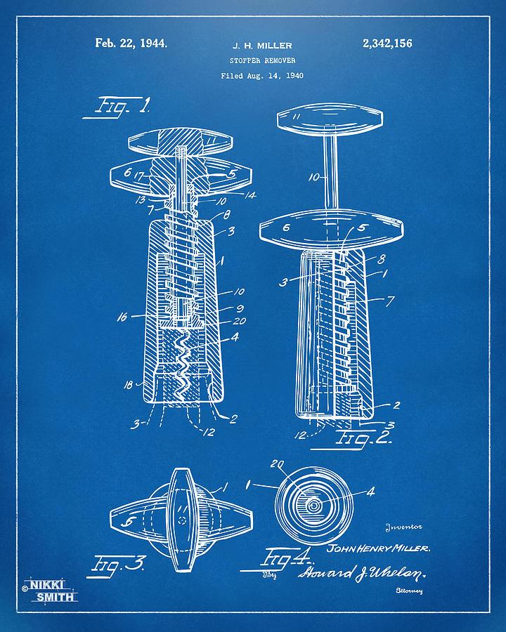 Wine Digital Art - 1944 Wine Corkscrew Patent Artwork - Blueprint by Nikki Marie Smith