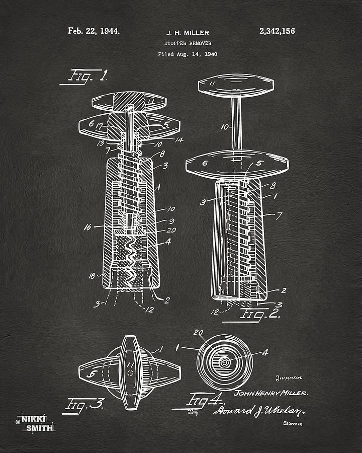 Wine Drawing - 1944 Wine Corkscrew Patent Artwork - Gray by Nikki Marie Smith