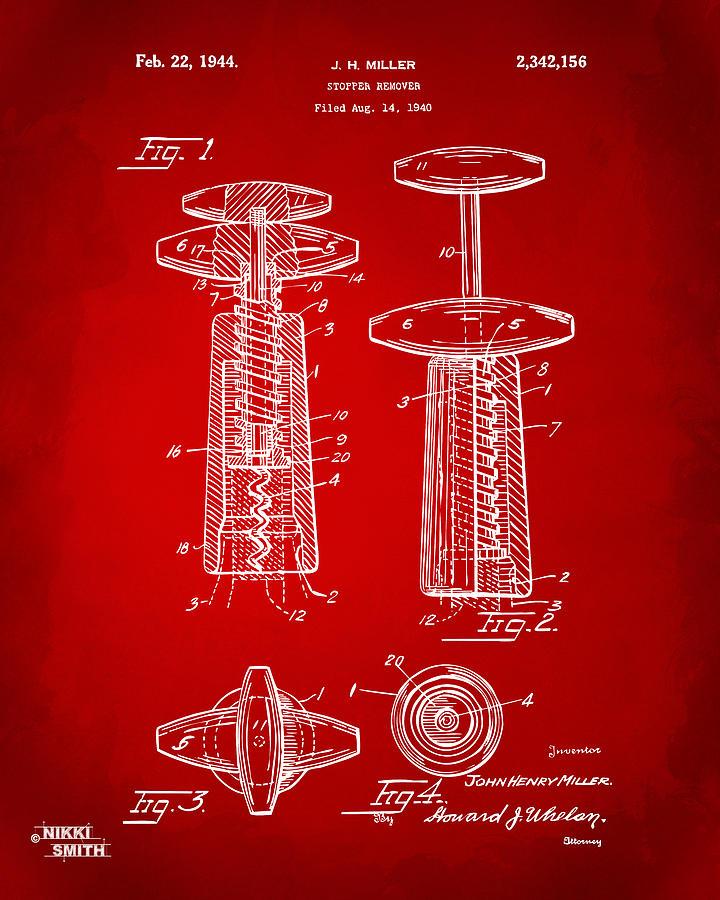 Wine Digital Art - 1944 Wine Corkscrew Patent Artwork - Red by Nikki Marie Smith
