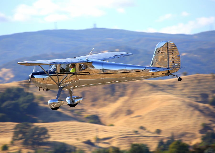 1947 Cessna 140 Fly-by N4151n Photograph by John King