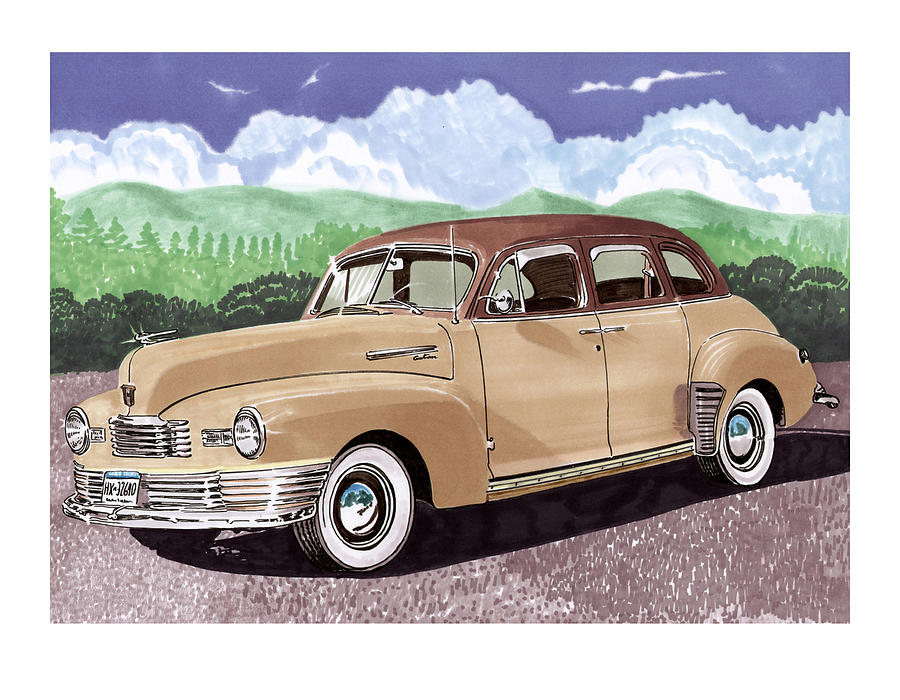 1947 Nash Statesman Four Door Sedan Painting - 1947 Nash Statesman by Jack Pumphrey