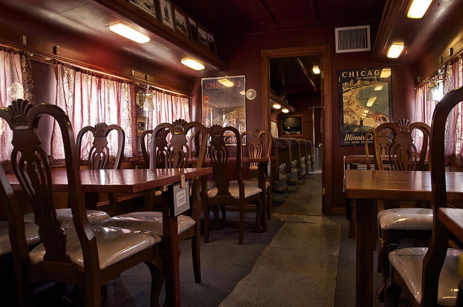 Railroad Photograph - 1947 Pullman Railroad Car Dining Room by Thomas Woolworth