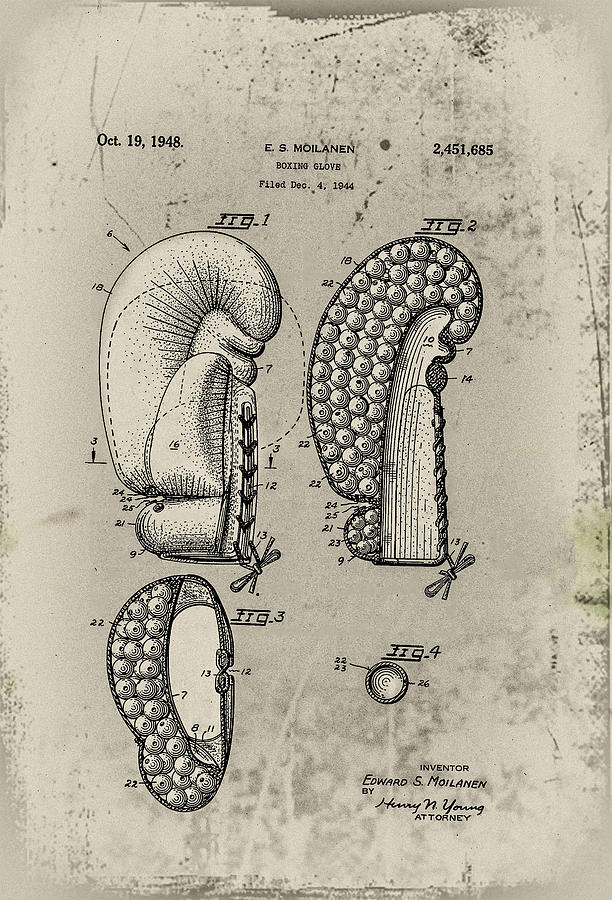 1948 Photograph - 1948 Boxing Glove Patent by Bill Cannon