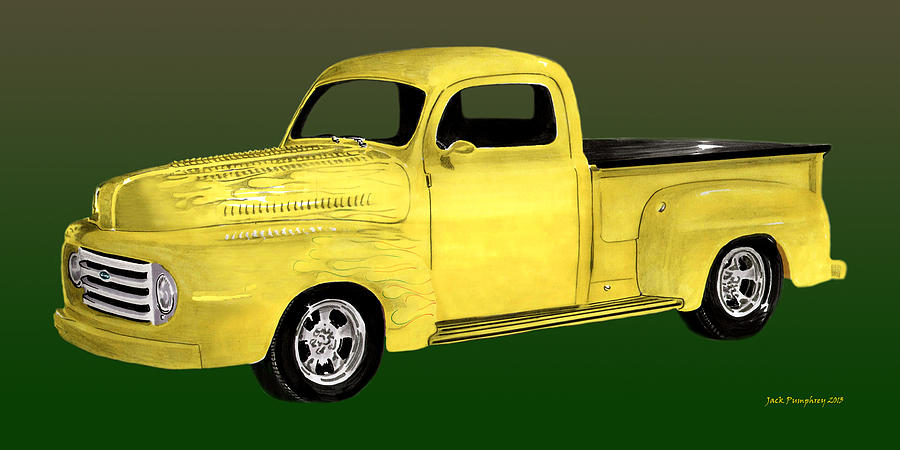 1948 Ford  Pick Up Truck Painting - 1948 Custom Ford Pick Up by Jack Pumphrey