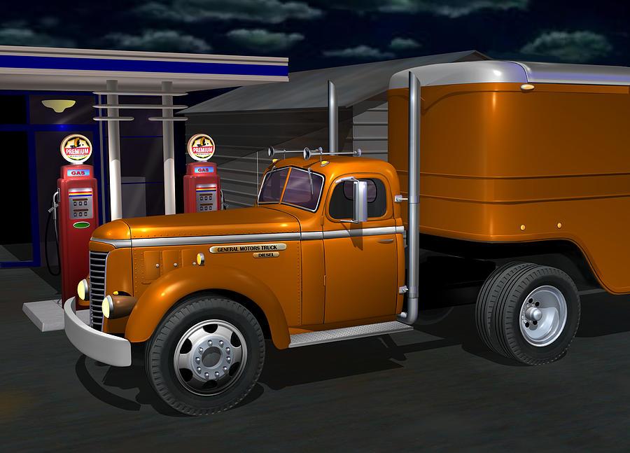 1948 Gmc Diesel Digital Art By Stuart Swartz