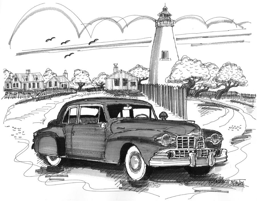 1948 lincoln continental drawing by richard wambach