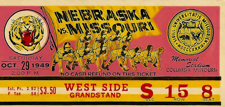Ticket Photograph - 1949 Football Ticket - Nebraska Vs Missouri by David Patterson