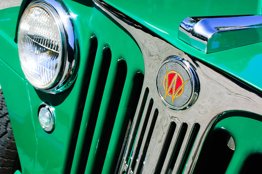 Willys Photograph - 1949 Willys Jeep Station Wagon Grille Emblem by Jill Reger