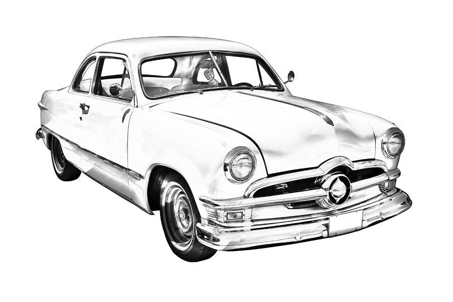 1950 ford custom antique car illustration photograph by