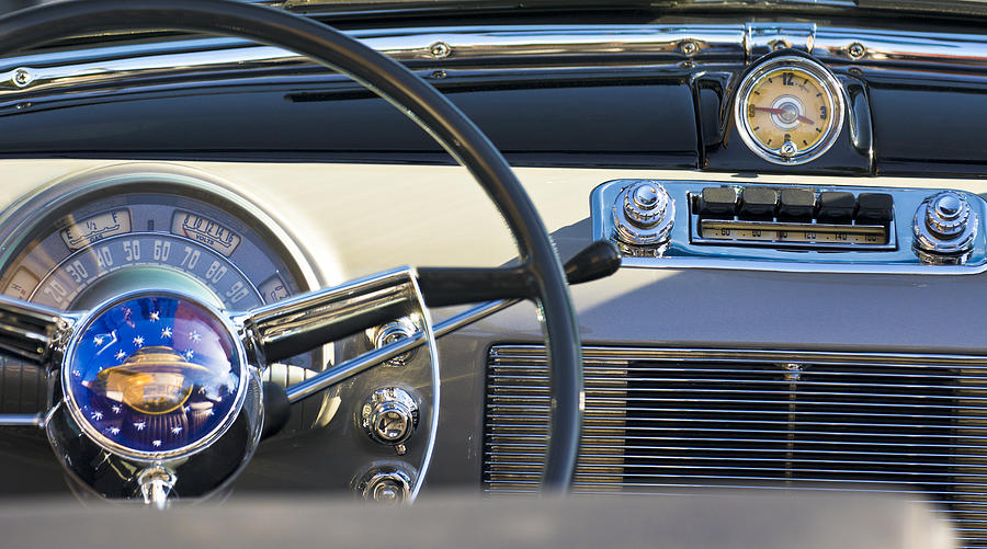 1950 Oldsmobile Rocket 88 Photograph - 1950 Oldsmobile Rocket 88 Steering Wheel 3 by Jill Reger