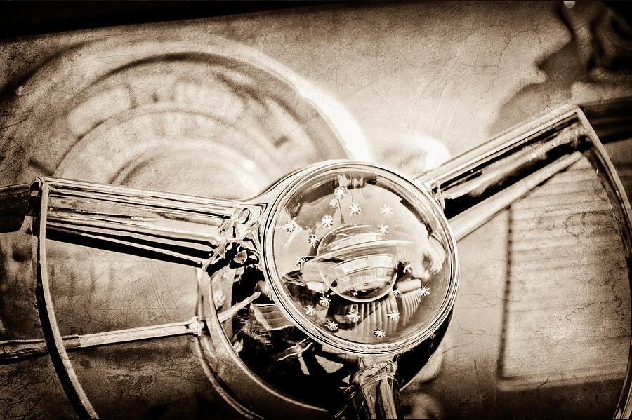 Old Cars Photograph - 1950 Oldsmobile Rocket 88 Steering Wheel Emblem by Jill Reger