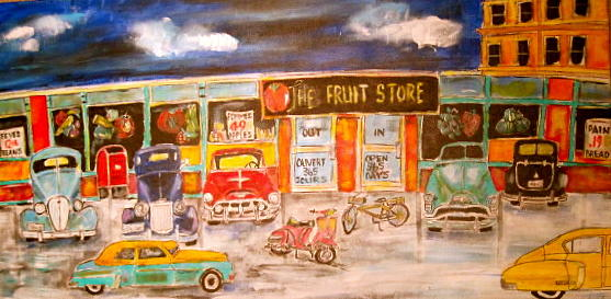 Cars Painting - 1950 Strip Mall by Michael Litvack