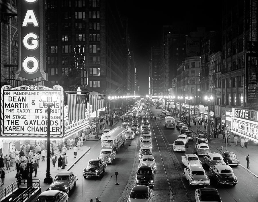 Horizontal Photograph - 1950s 1953 Night Scene Of Chicago State by Vintage Images
