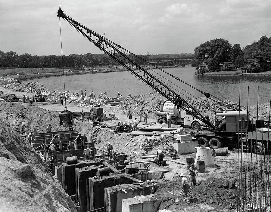 Horizontal Photograph - 1950s 1960s Highway Bridge Construction by Vintage Images