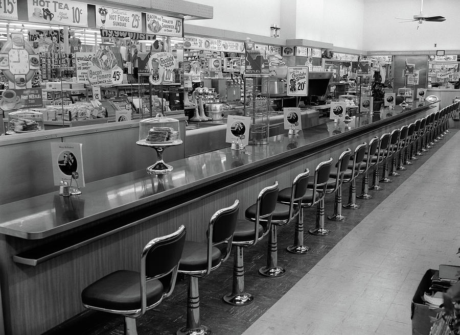 1950s 1960s Interior Of Lunch Counter Photograph By