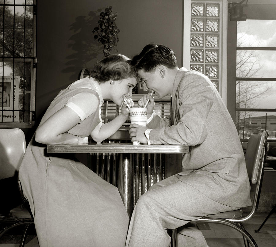 Horizontal Photograph - 1950s 1960s Laughing Teenage Couple Boy by Vintage Images