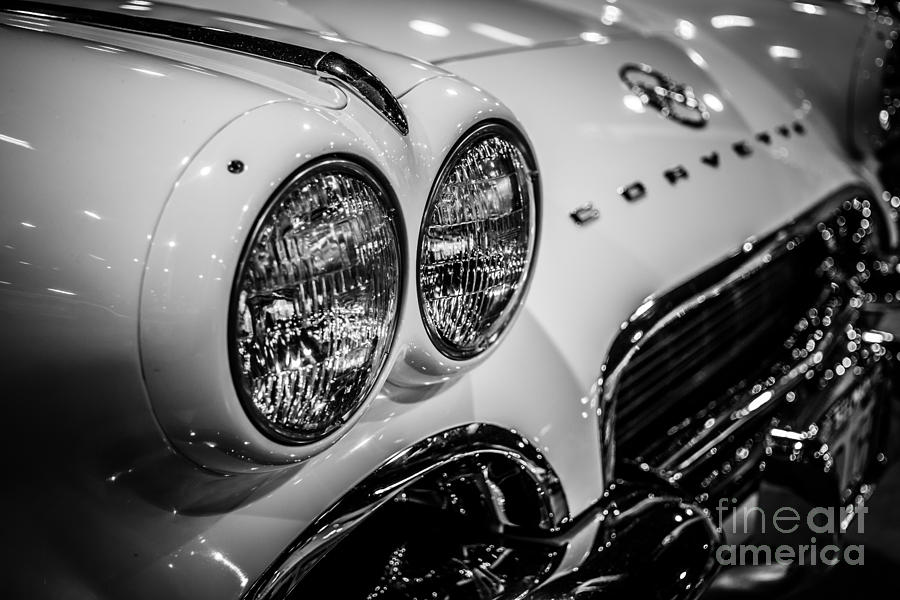 1950's Photograph - 1950s Chevrolet Corvette C1 In Black And White by Paul Velgos