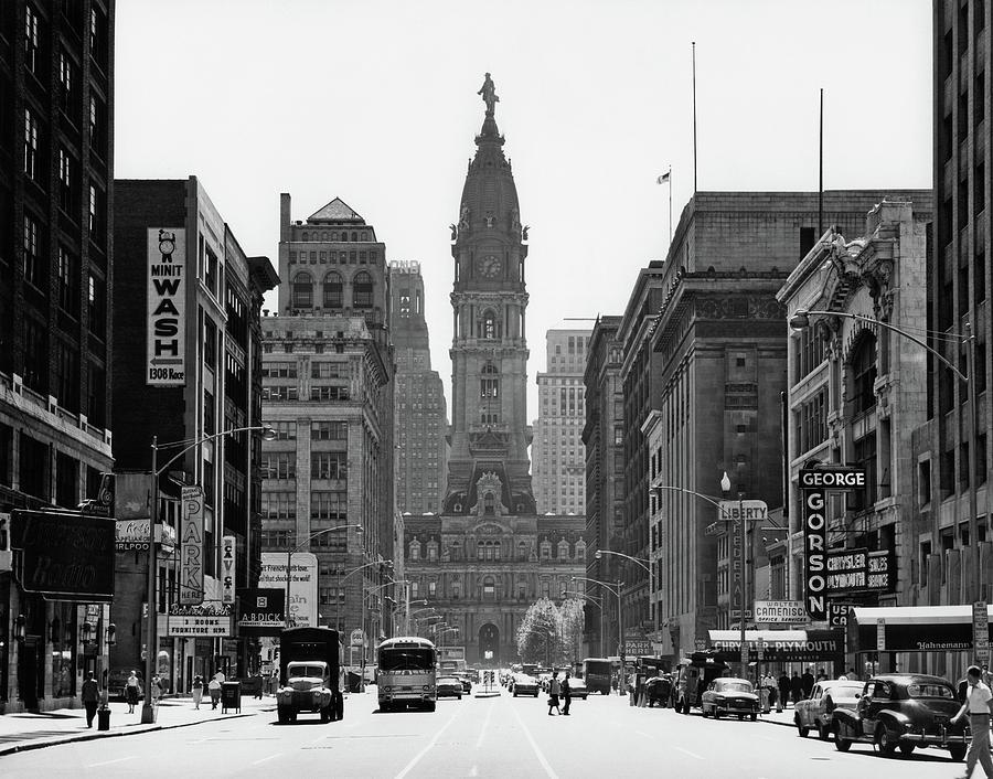 Horizontal Photograph - 1950s Downtown Philadelphia Pa Usa by Vintage Images
