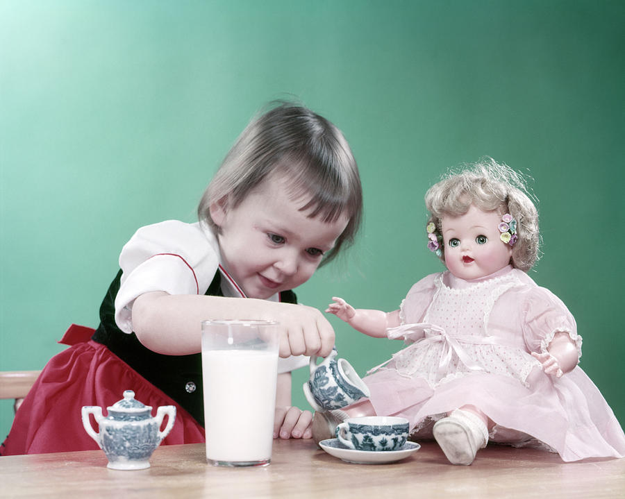 Horizontal Photograph - 1950s Little Girl Toddler And Baby Doll by Vintage Images