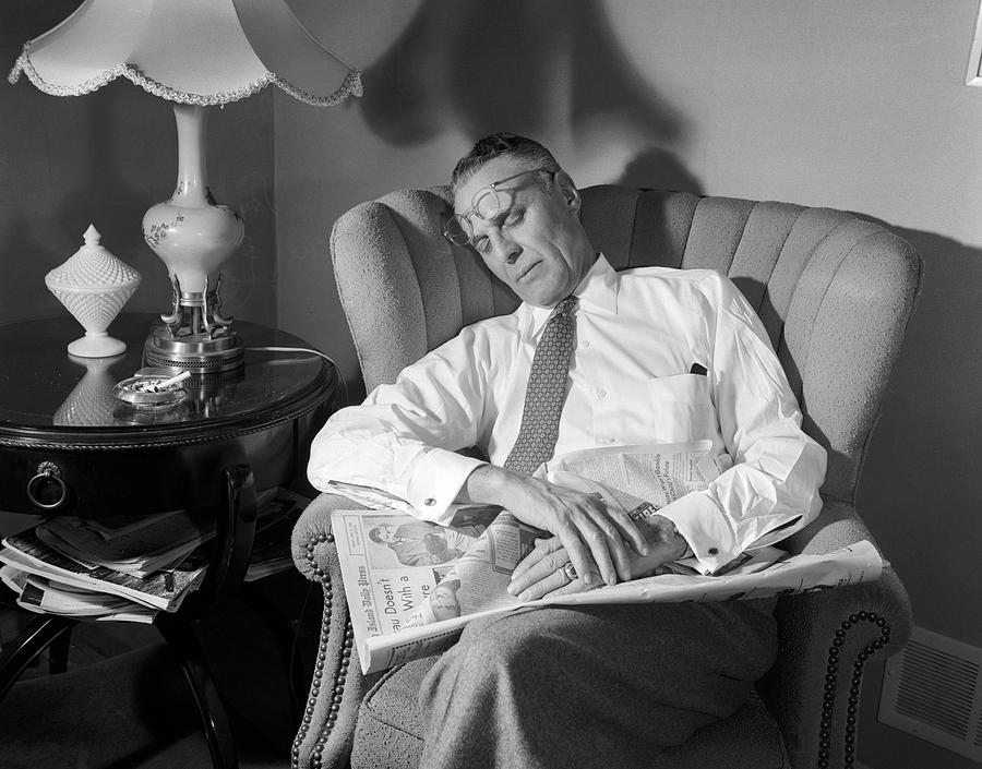 1950s Middle Aged Man Asleep In Chair Photograph by Vintage Images