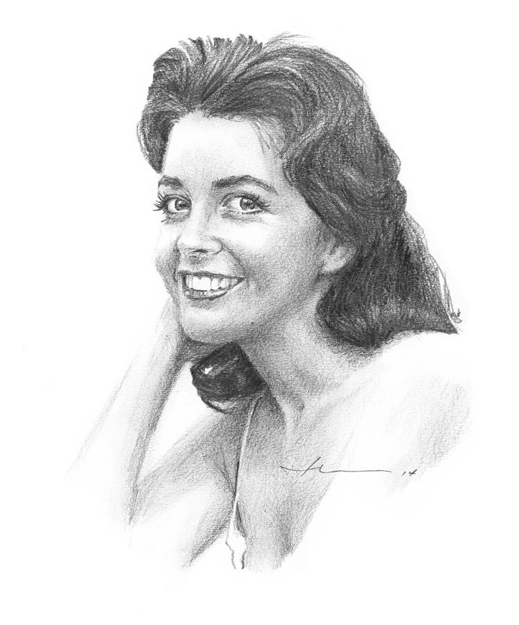 1950s Starlet Pencil Portrait Drawing by Mike Theuer