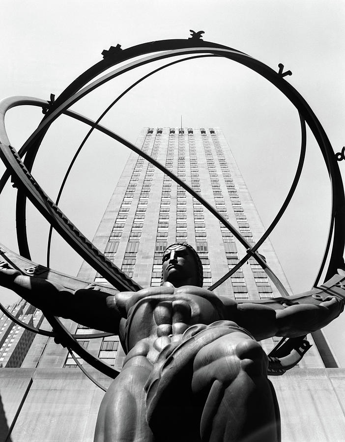 Vertical Photograph - 1950s Statue Of Atlas At Rockefeller by Vintage Images