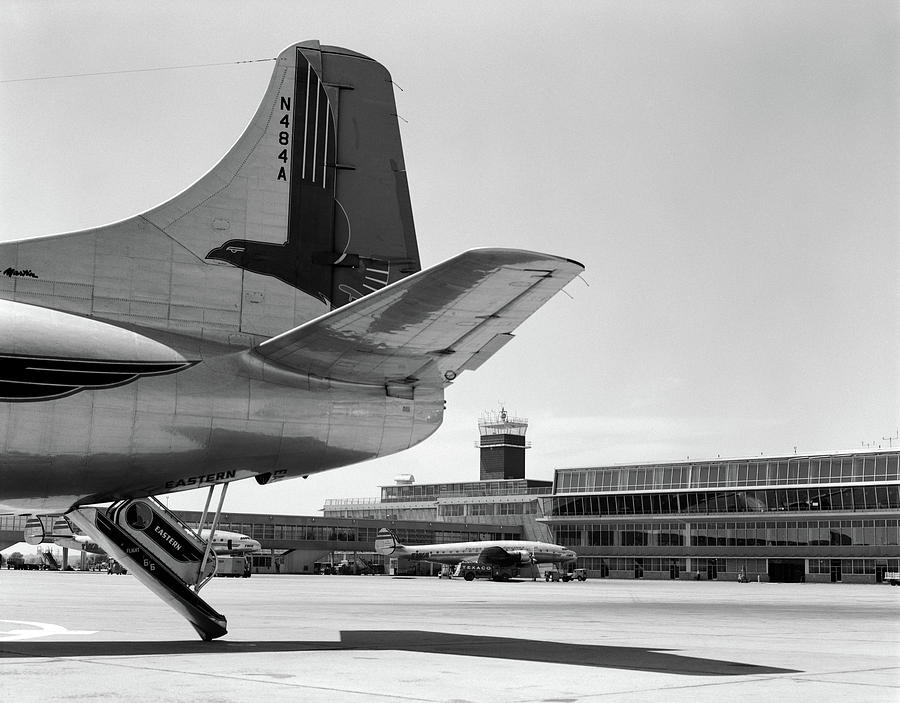 1950s Tail Of Commercial Airplane Photograph By Vintage Images