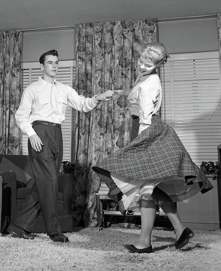 1950s Teenage Couple Jitterbug Dancing Photograph By