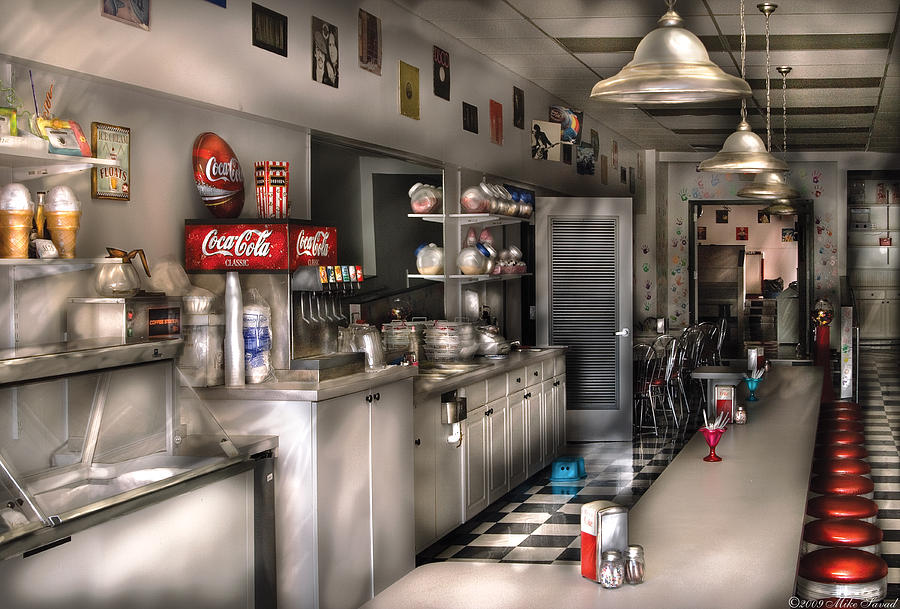 Cola Photograph - 1950s - The Soda Fountain by Mike Savad