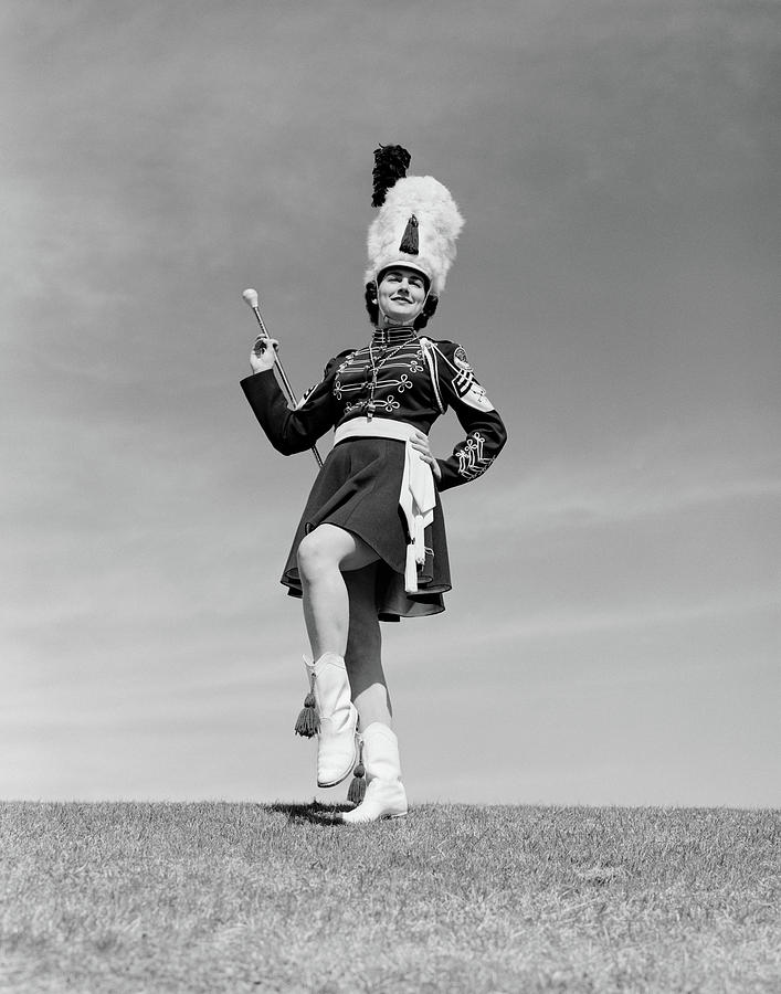 1950s Woman Majorette In Uniform by Vintage Images