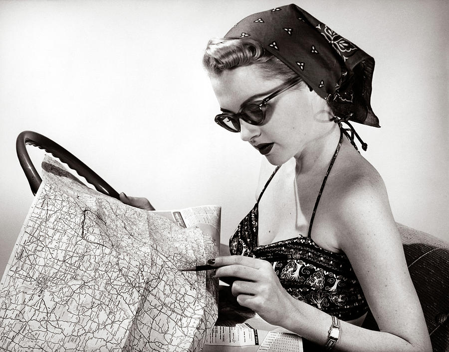 Horizontal Photograph - 1950s Woman Wearing Bandana Sunglasses by Vintage Images