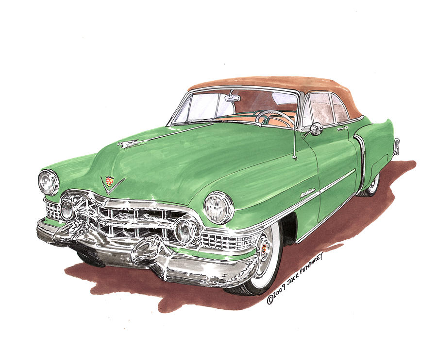Classic Car Paintings Painting - 1951 Cadillac Series 62 Convertible by Jack Pumphrey