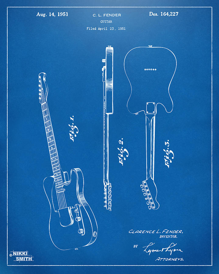 Fender Guitar Drawing - 1951 Fender Electric Guitar Patent Artwork - Blueprint by Nikki Marie Smith