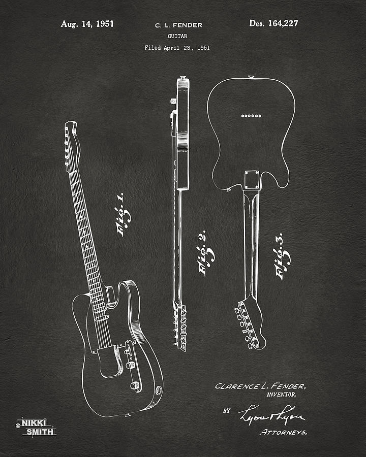 Fender Guitar Digital Art - 1951 Fender Electric Guitar Patent Artwork - Gray by Nikki Marie Smith