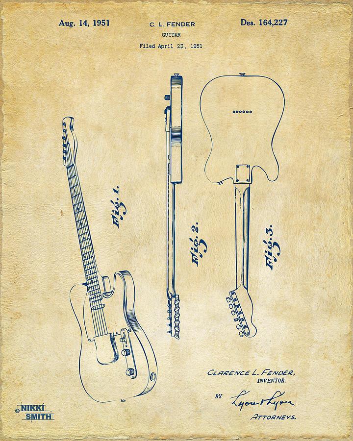 Fender Guitar Digital Art - 1951 Fender Electric Guitar Patent Artwork - Vintage by Nikki Marie Smith