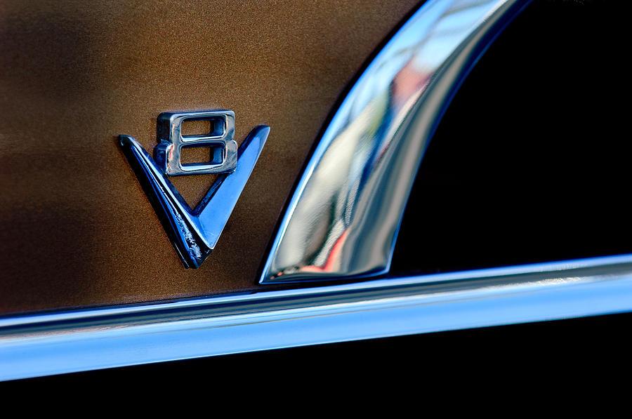Classic Car Photograph - 1951 Ford Crestliner V8 Emblem by Jill Reger