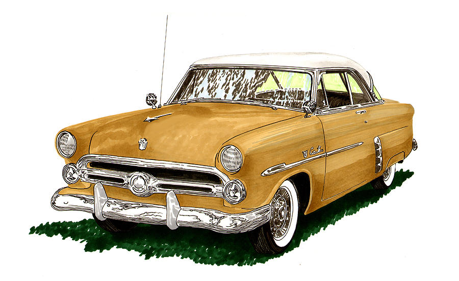 Classic Car Drawings Painting - 1952 Ford Victoria by Jack Pumphrey