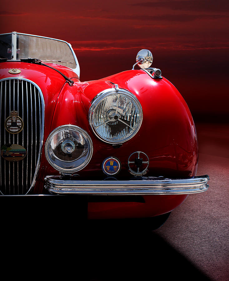 1952 Jaguar Xk120 Sport Car Red Colour On Sunset