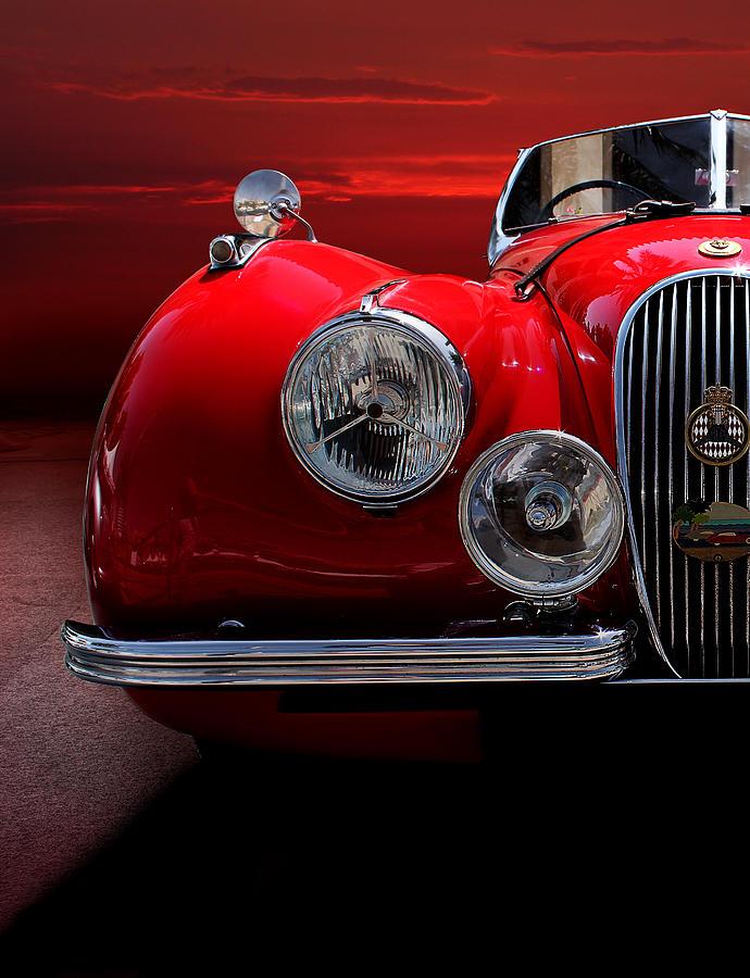Automobile Photograph - 1952 Jaguar Xk120 Sport Car Red by Radoslav Nedelchev