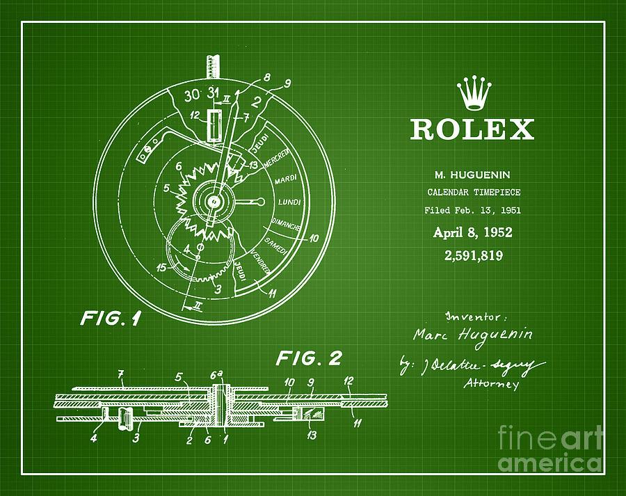 Rolex Patent Drawing - 1952 Rolex Calendar Timepiece 2 by Nishanth Gopinathan