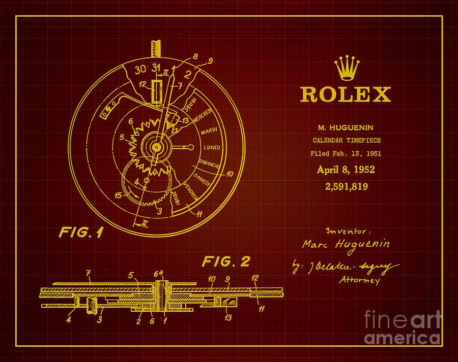 Rolex Patent Drawing - 1952 Rolex Calendar Timepiece 3 by Nishanth Gopinathan