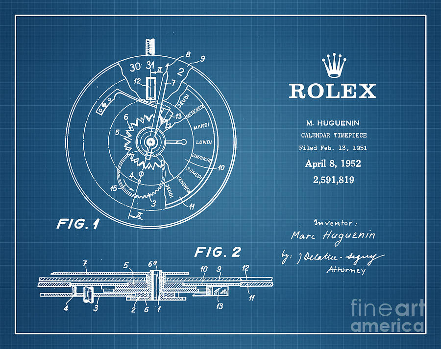 Rolex Patent Drawing - 1952 Rolex Calendar Timepiece 4 by Nishanth Gopinathan