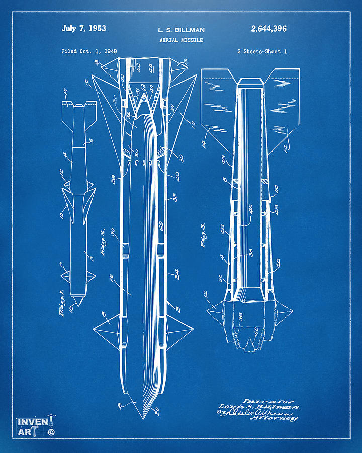 Aerial Missle Drawing - 1953 Aerial Missile Patent Blueprint by Nikki Marie Smith