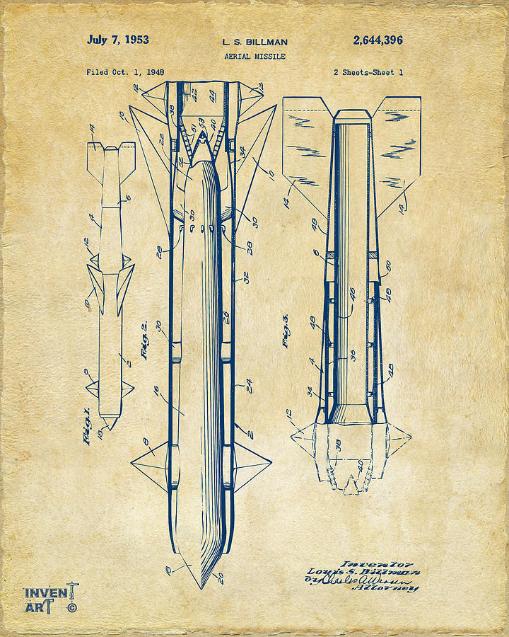 Missle Drawing - 1953 Aerial Missile Patent Vintage by Nikki Marie Smith