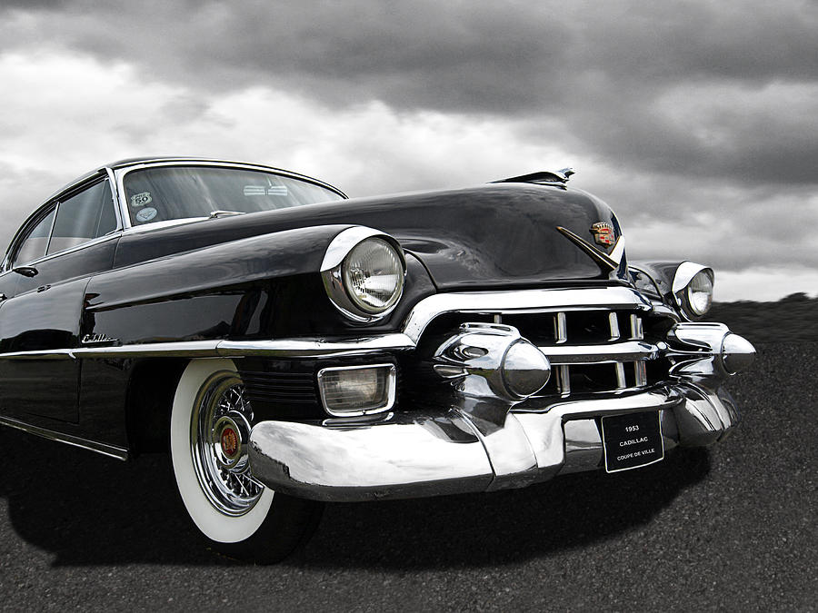 1953 Cadillac Coupe De Ville Black And White Photograph By